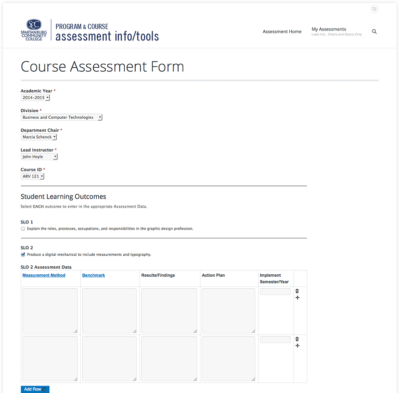Course Assessment Form