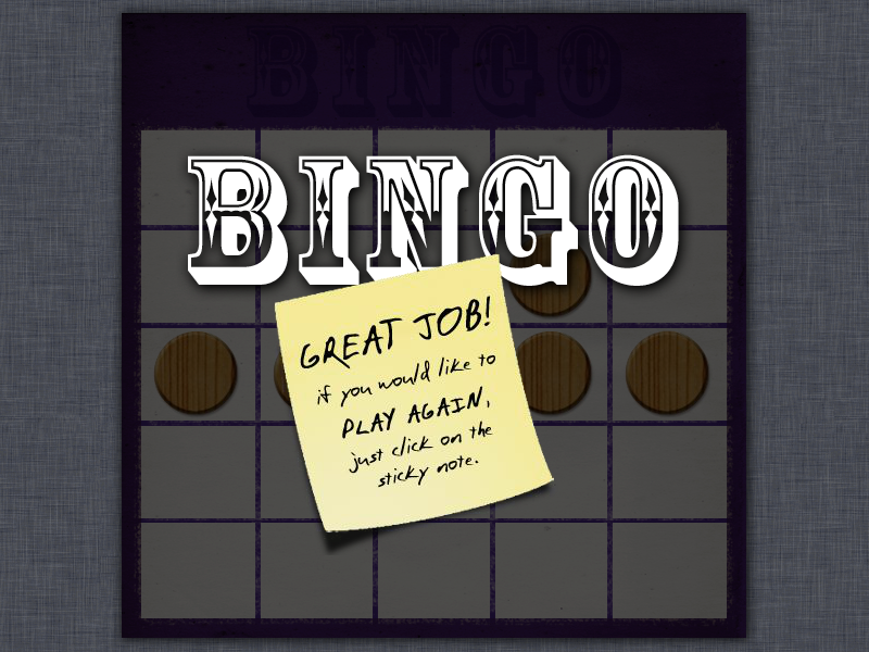 final bingo screen congratulating the winner