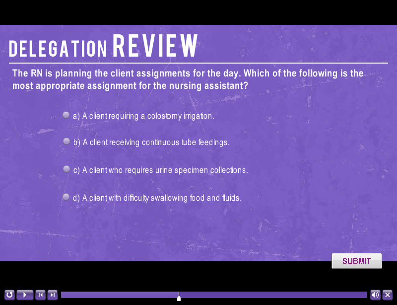 sample delegation slide featuring a multiple choice quiz question