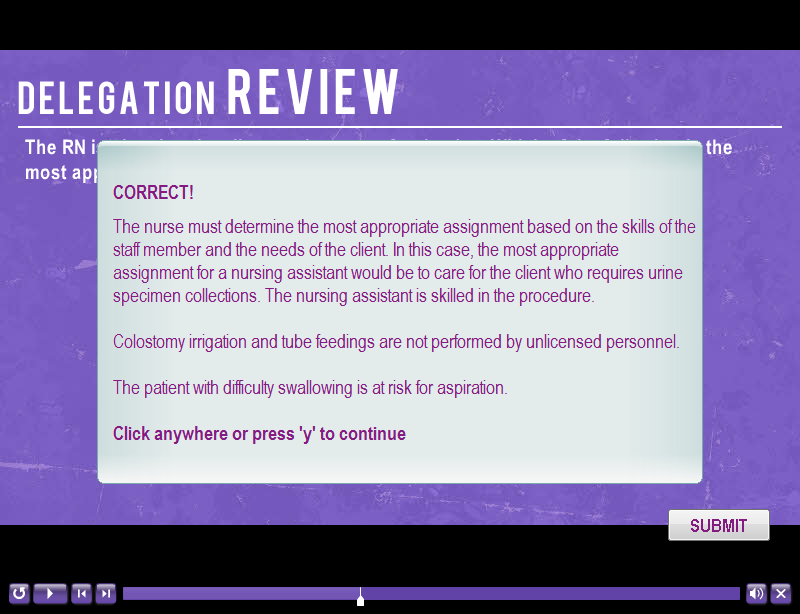sample delegation slide showing feedback of a submitted mc question