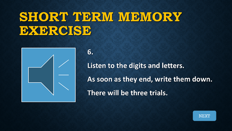 short term memory slide with audio icon