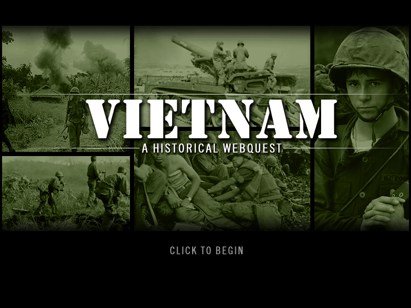 Vietnam webquest title page with graphics from war
