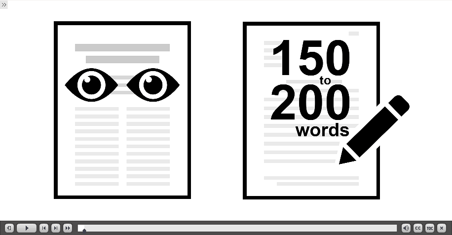 document with eyes representing read article and a summary with a pencil that says 150-200 words