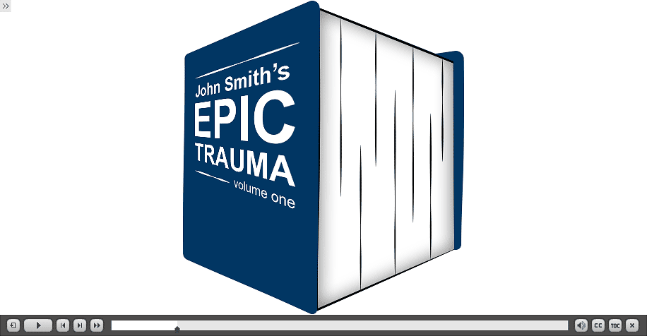 massive book titled John Smith's epic trauma volume one