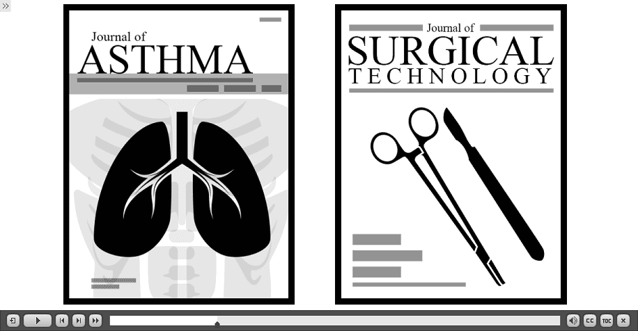two journal covers: asthma and surgical technology