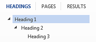 Hierarchal view of headings as seen in Word's Navigation view