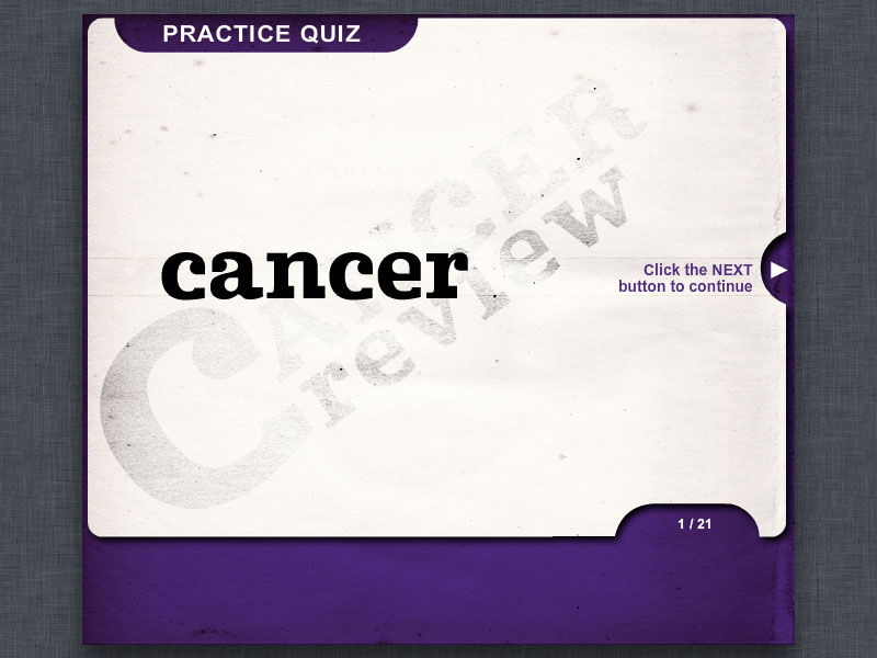 title screen for cancer quiz