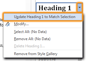 Selection of Update heading to match selection