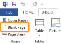 blank page button in pages group