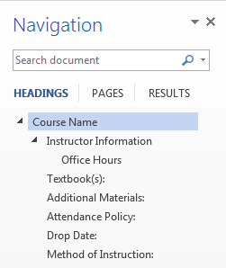 navigation display of heading hierarchy in navigation pane