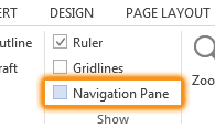Navigation pane selection box in the Show group