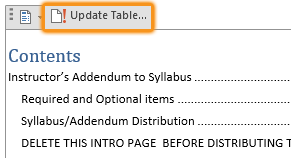 Update Table option