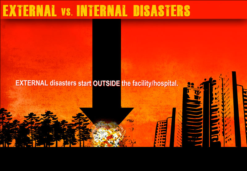 sample slide demonstrating external disaster with an explosion outside the hospital.