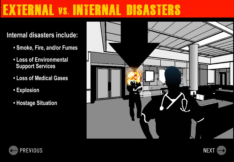 humorous sample slide demonstrating internal disaster, exploding doctor.