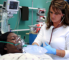 Nurse assisting patient