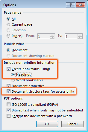 headings and document structure tags for accessibility selected