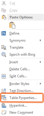 Table Properties highlighted in right-click menu