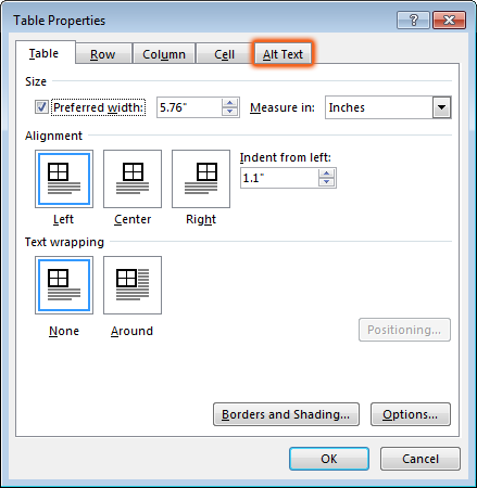 Alt Text tab in the Table Properties pop-up
